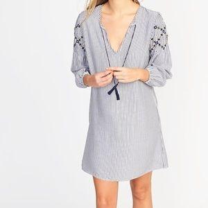Boho Shift Dress- with Embroidery